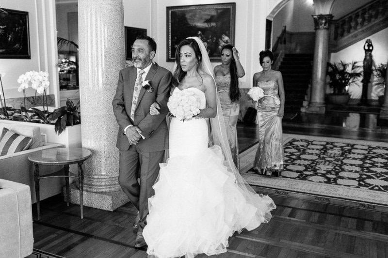 Bride and father Royal Hotel Sanremo
